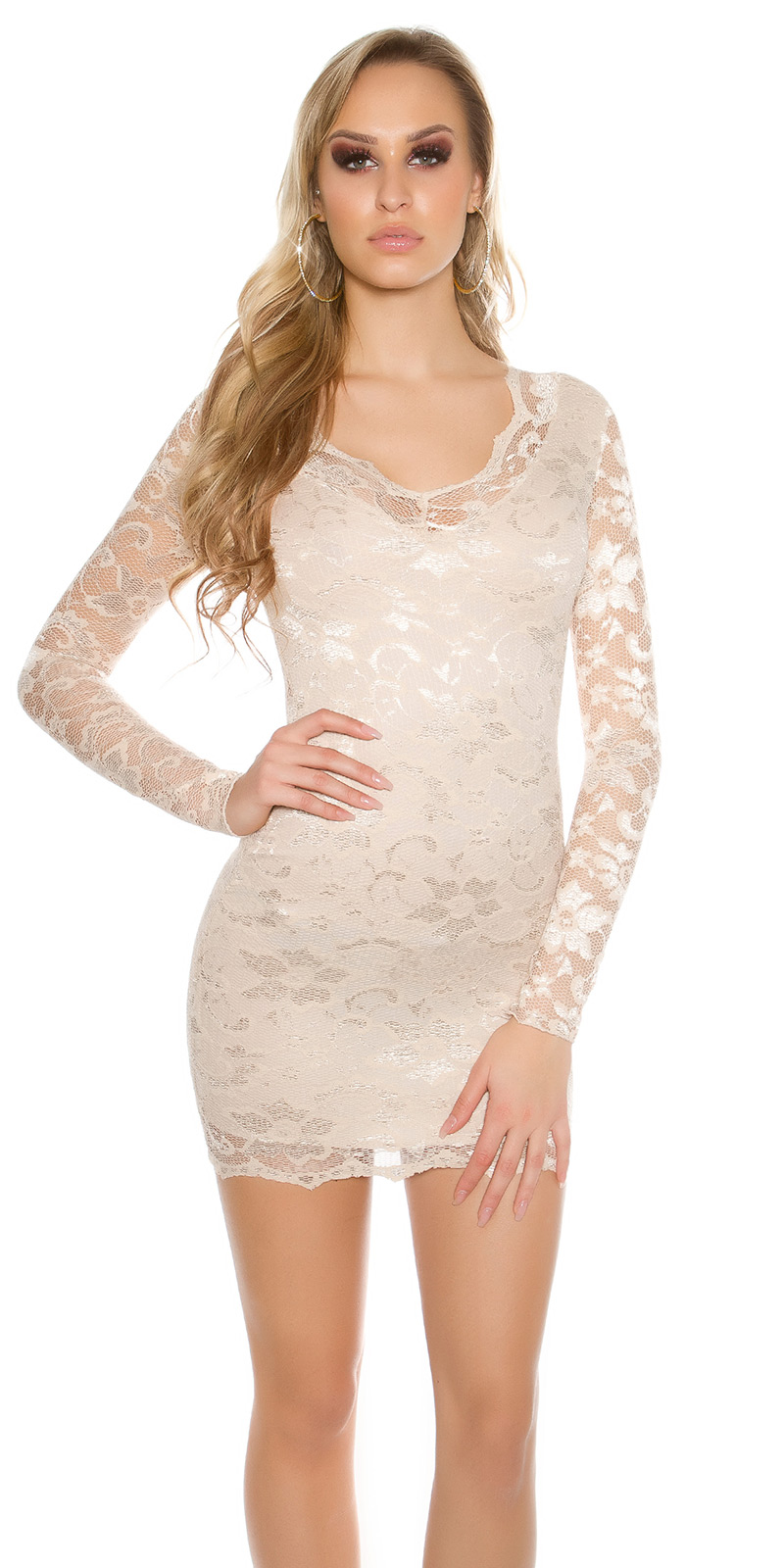 Šaty s dlouhým rukávem 00002100 - Capuccino