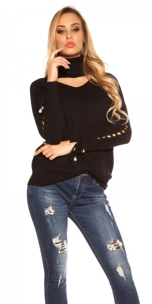 Trendy KouCla Rollkragenpulli mit Cut Out