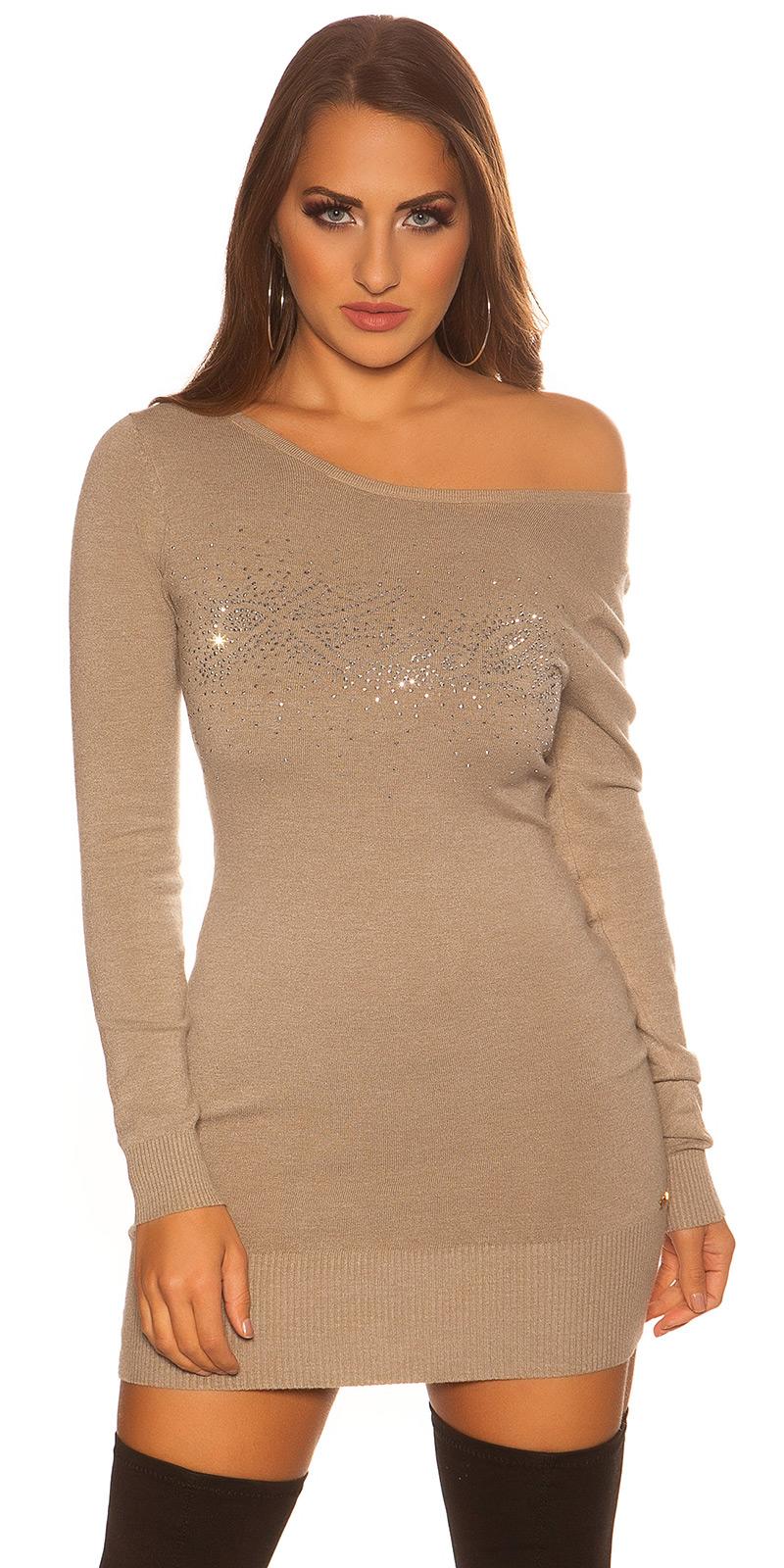 Šaty s dlouhým rukávem 0000ISF8266-N - Capuccino