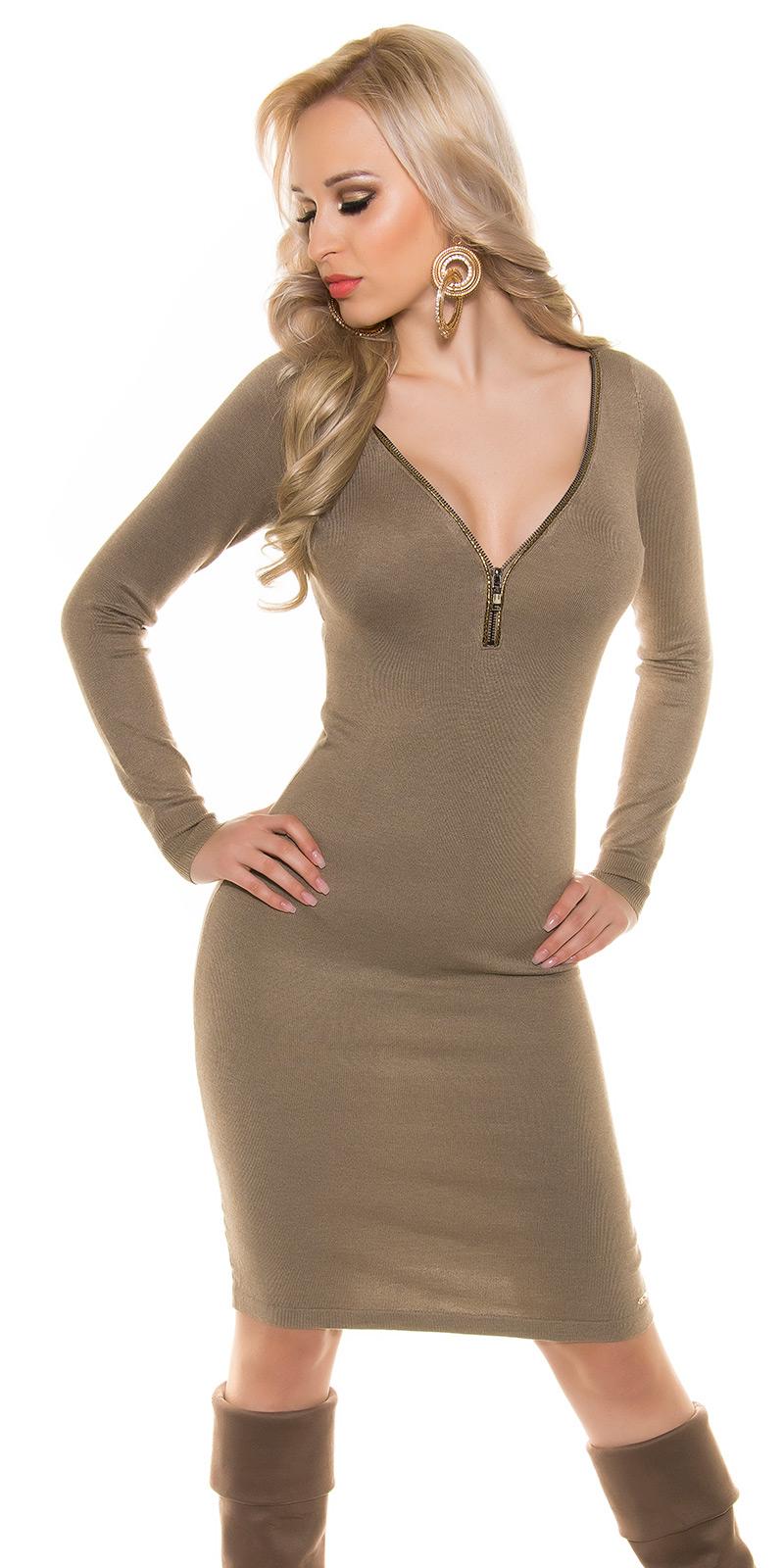 Šaty s dlouhým rukávem 0000ISF8725 - Taupe