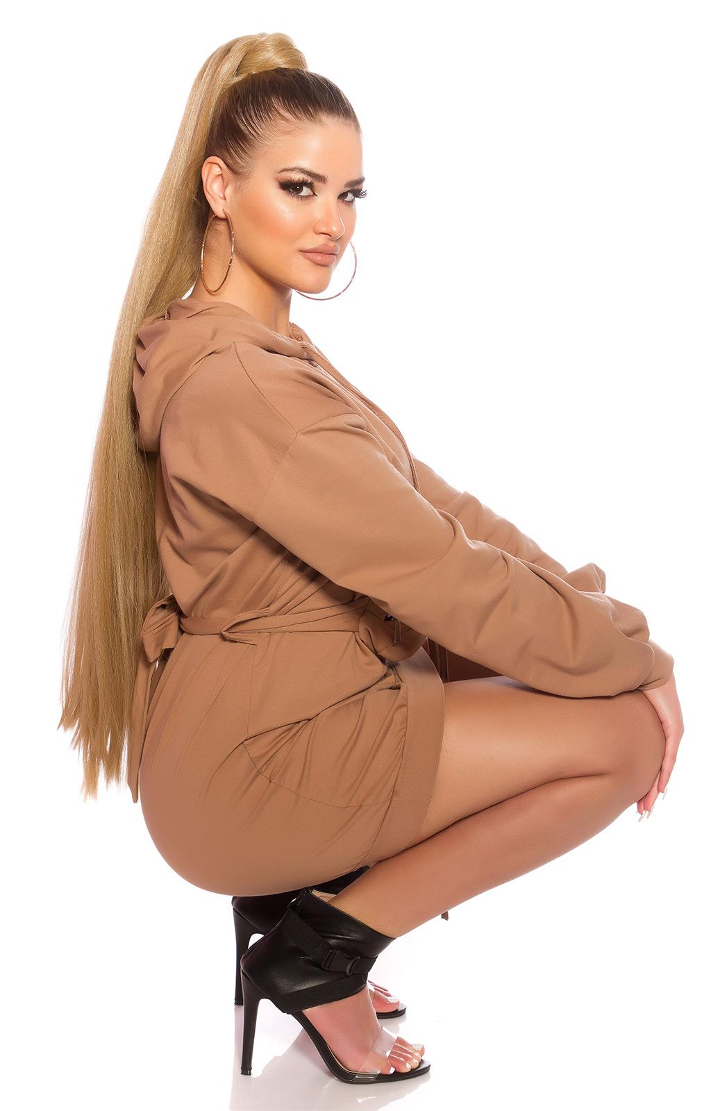 Šaty s dlouhým rukávem 0000BL15066 - Capuccino