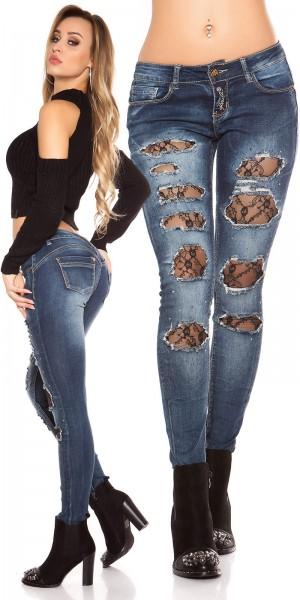 Sexy Koucla Skinny Push-Up Jeans mit Spitze