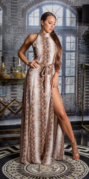 Sexy Maxi Neck Kleid mit Animalprint und Gürtel