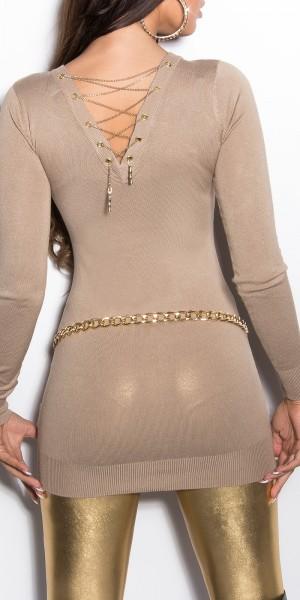 Sexy KouCla Pullover mit Kettenschnürung
