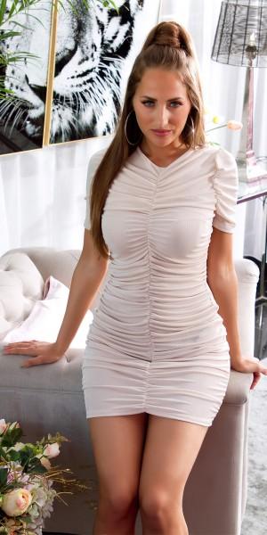 Sexy Kurzarm Minikleid mit Raffung