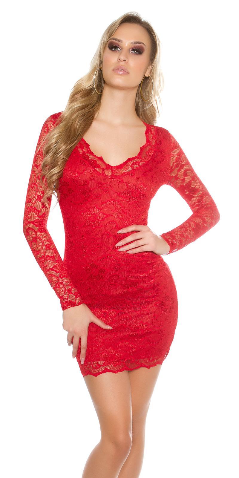 Šaty s dlouhým rukávem 00002100 - red