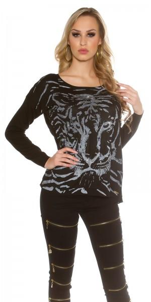 Sexy Koucla Pullover mit Tigerprint und Strass