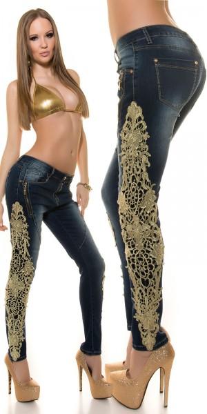 Sexy KouCla Jeans mit Spitze und Zips
