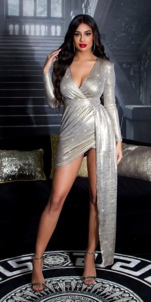 Sexy Koucla PartyKleid mit V-Ausschmitt  GOLD