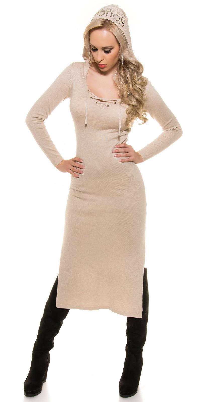Šaty s dlouhým rukávem 0000ISF8722 - Beige