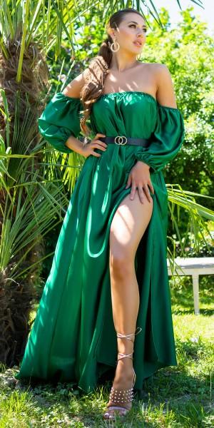 Sexy Off-Shoulder Satin Look Kleid Bodenlang