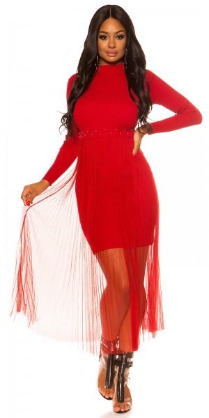 Sexy Ripp Strick Kleid mit Chiffon Überrock