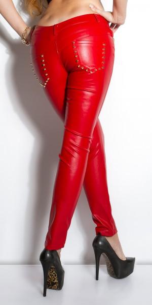 Sexy KouCla Lederlook-Hose mit Nieten an Taschen