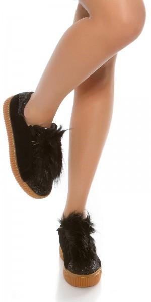 Trendy Plateau Sneakers mit Glitzer und fake Fell