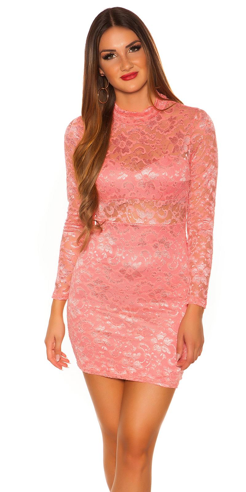 Šaty s dlouhým rukávem 0000IN50242 - salmon