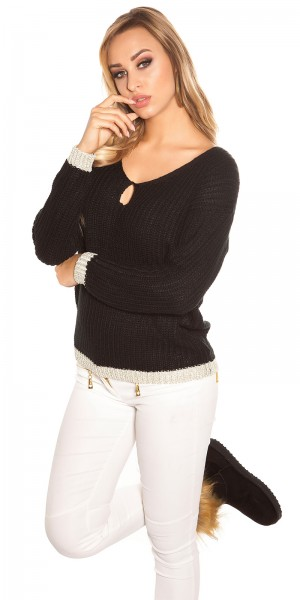 Trendy Koucla Pullover mit Lurexrändern