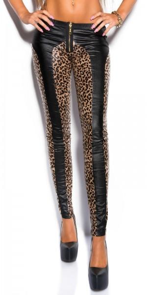 Sexy KouCla Skinny WetLook Pants mit Zipp