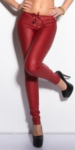 Sexy Letherlook-Pants mit Schnürung und Nieten